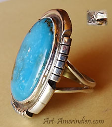 Indian Native American Navajo sterling silver and turquoise ring signed Silver Ray