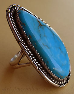 Navajo indian sterling silver and turquoise kingman mine long ring