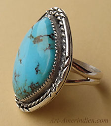 South western Navajo indian sterling silver and turquoise ring