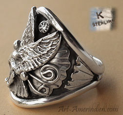 Sterling Silver Indian Native American ring, hallmarked K by Navajo artist.