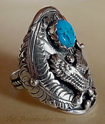 Native American Navajo Eagle and turquoise sterling silver ring size 12 1/4