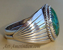 Navajo Indian Native American ring made out of Sterling Silver and parrot wing Turquoise.