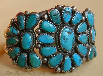 Very old Navajo Indian Native american cluster bracelet with 29 serrated turquoises signed W Chee.