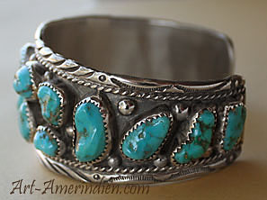 Native American Indian jewelry, this navajo sterling silver bracelet with many turquoises is hallmarked PBY